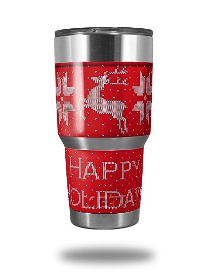 d6ab026b3b2 Amazon.com : Skin Decal Wrap for Yeti Tumbler Rambler 30 oz Ugly Holiday  Christmas Sweater - Happy Holidays Sweater Red 01 (TUMBLER NOT INCLUDED) ...