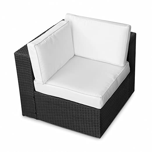 Amazon.de: (1er) Polyrattan Lounge Möbel Eck Sessel schwarz ...