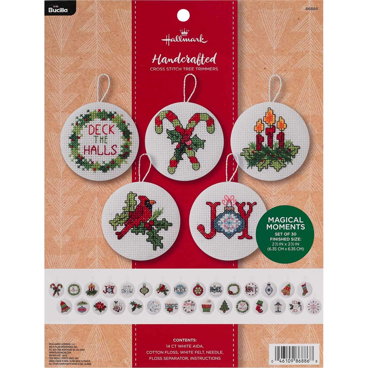 Bucilla 86886 Hallmark 30 pc. Felt Ornament Kit, 2.5'', Magical Moments by Bucilla