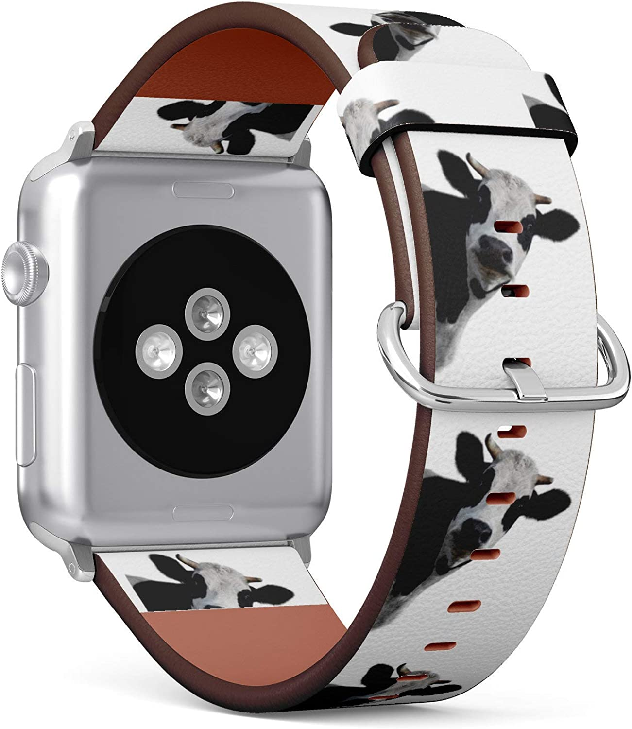 (Funny Milk Cow) Patterned Leather Wristband Strap for Apple Watch Series 4/3/2/1 gen,Replacement for iWatch 38mm / 40mm Bands