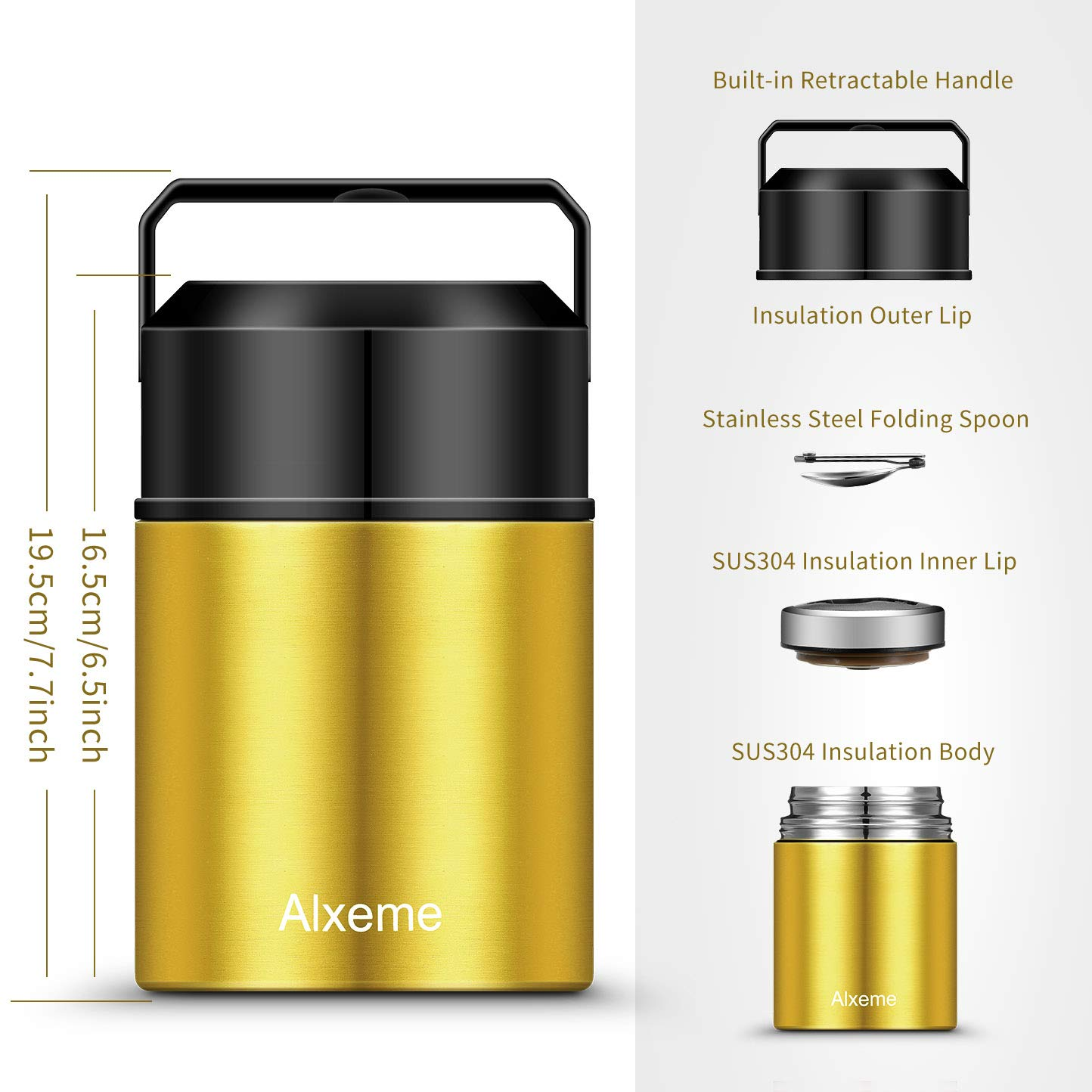 Soup Thermos Food Jar for Hot Food Wide Mouth Alxeme 27 oz Insulated Lunch Containers Stainless