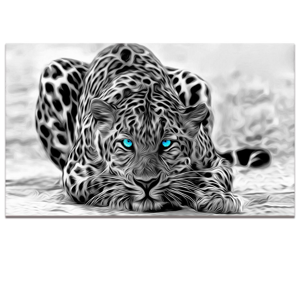 10x16x2+10x20x2+10x24x1 16 Black and White Animal Canvas Wall Art,Abstract Leopard Canvas Prints with Frame,Attractive Leopard Picture Decorative,Easy Hanging On,More Size Optional