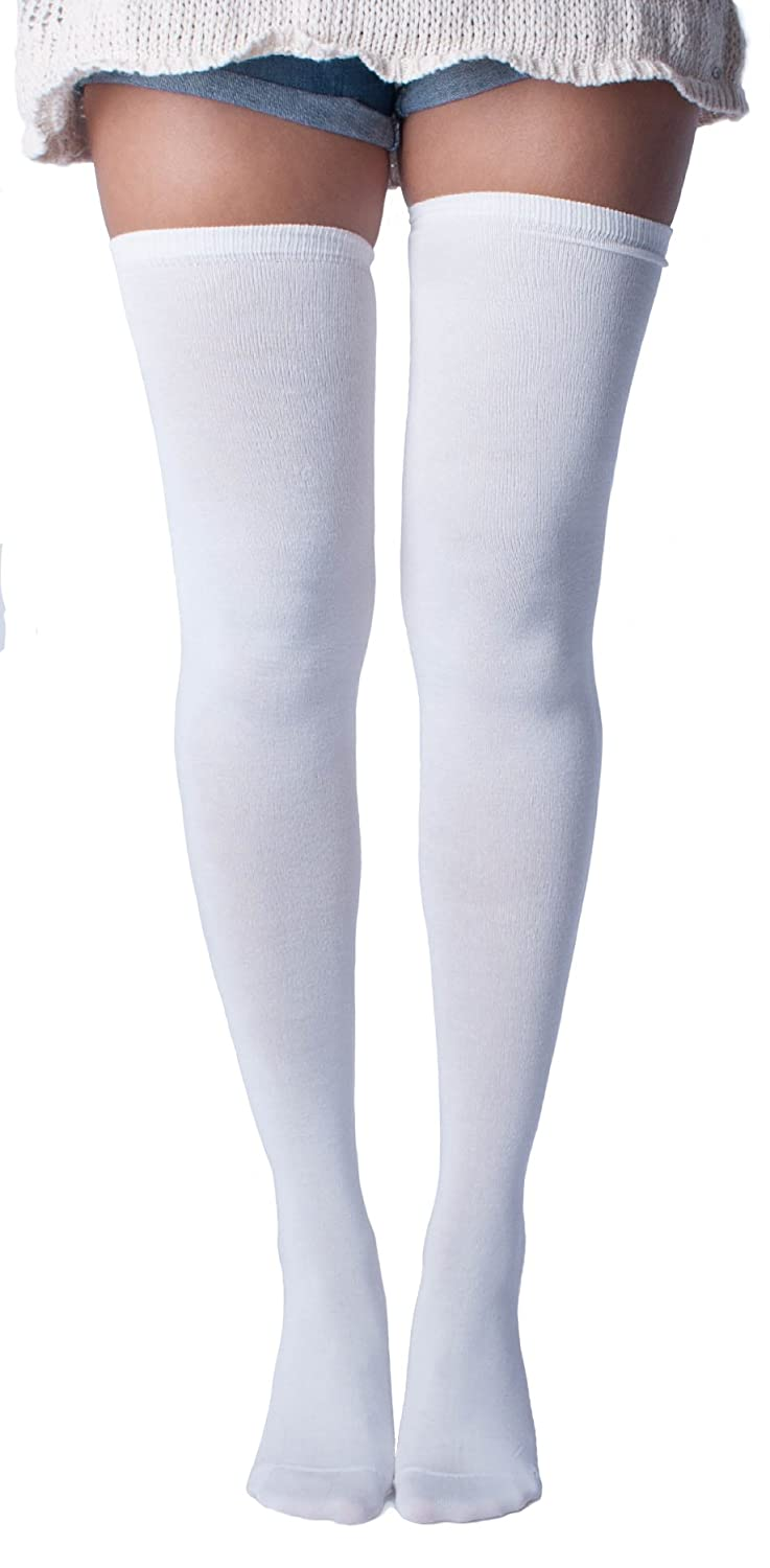 fbb351684 Solid White Thigh High Socks at Amazon Women s Clothing store