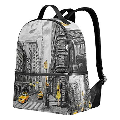 ALAZA Fashion New York Street Cityscape Polyester Backpack School Travel Bag