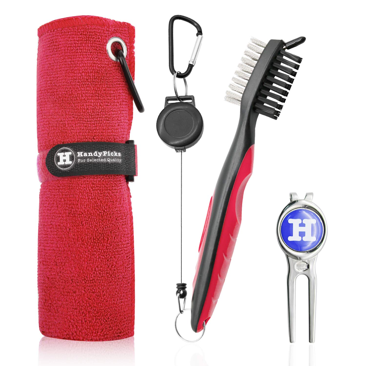 Handy Picks Microfiber Golf Towel (16'' X 16'') with Carabiner, Club Brush, Golf Divot Repair Tool with Ball Marker - Golf Accessories, Ideal for Golfers - 3 in 1 Golf Cleaning Kit (Pack of 3, Red)