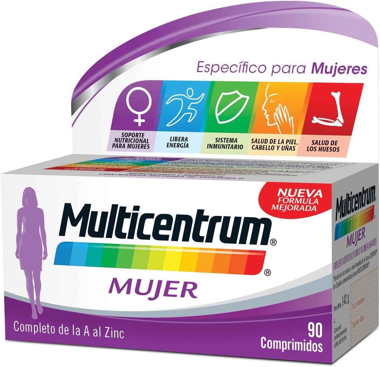 Multicentrum Mujer Complemento Alimenticio con 13 Vitaminas y 11 Minerales, Con Vitamina B1, Vitamina B6, Vitamina B12, Hierro, Ácido Fólico, Calcio, Biotina, Vitamina D, Vitamina C, 90 Comprimidos