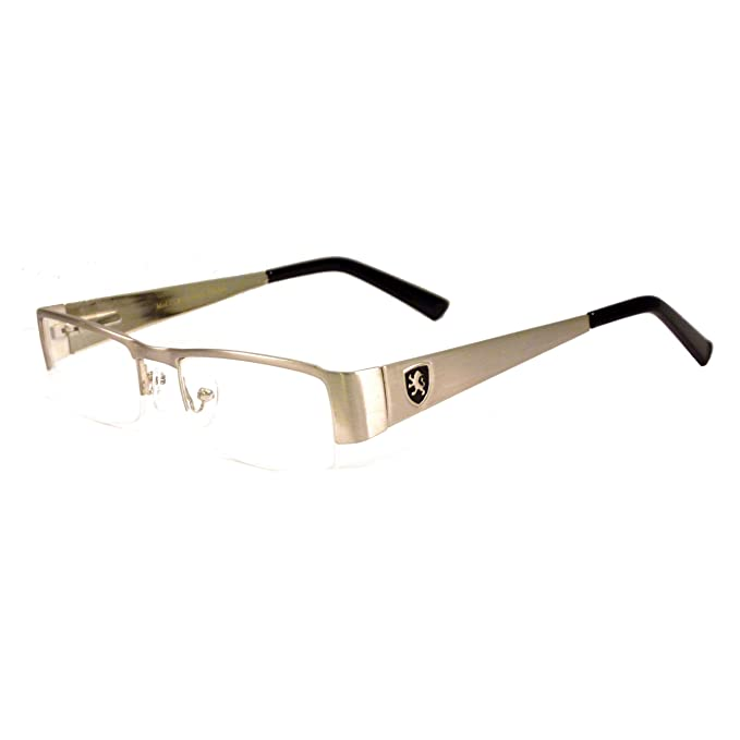 b0088cb1c6 Image Unavailable. Image not available for. Color  KHAN Nerd Metal Polite  Look Fashion Frame Rx Clear Lens Eye Glasses SILVER