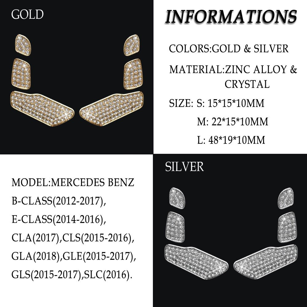 1797 Compatible Door Lock Pins Caps for Mercedes Accessories Benz Parts Bling W246 W212 C117 X156 CLA GLA B E Class GLC AMG Covers Decals Stickers Interior Inside Decorations AMG Women Men Crystal Silver 4pcs