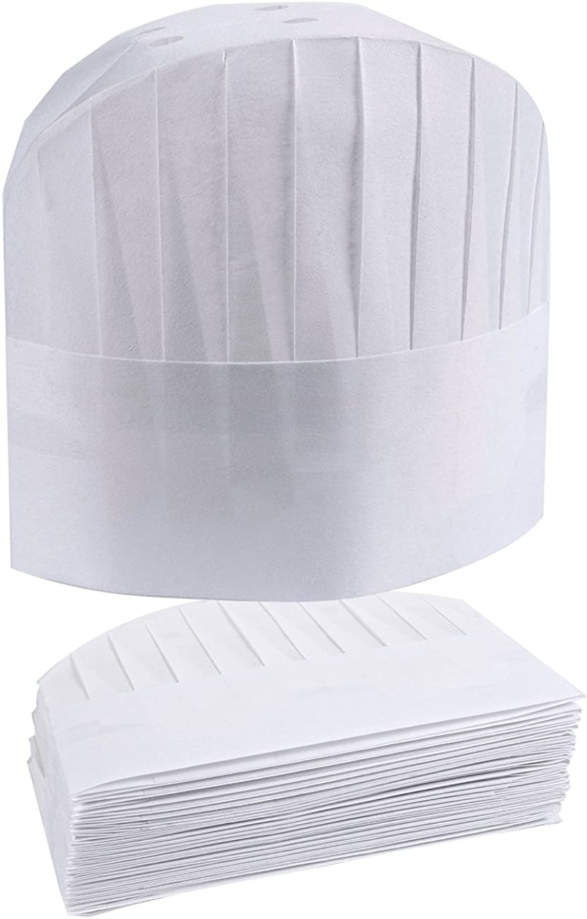 Paper Chef Hat, Disposable (White, 24 Pack)