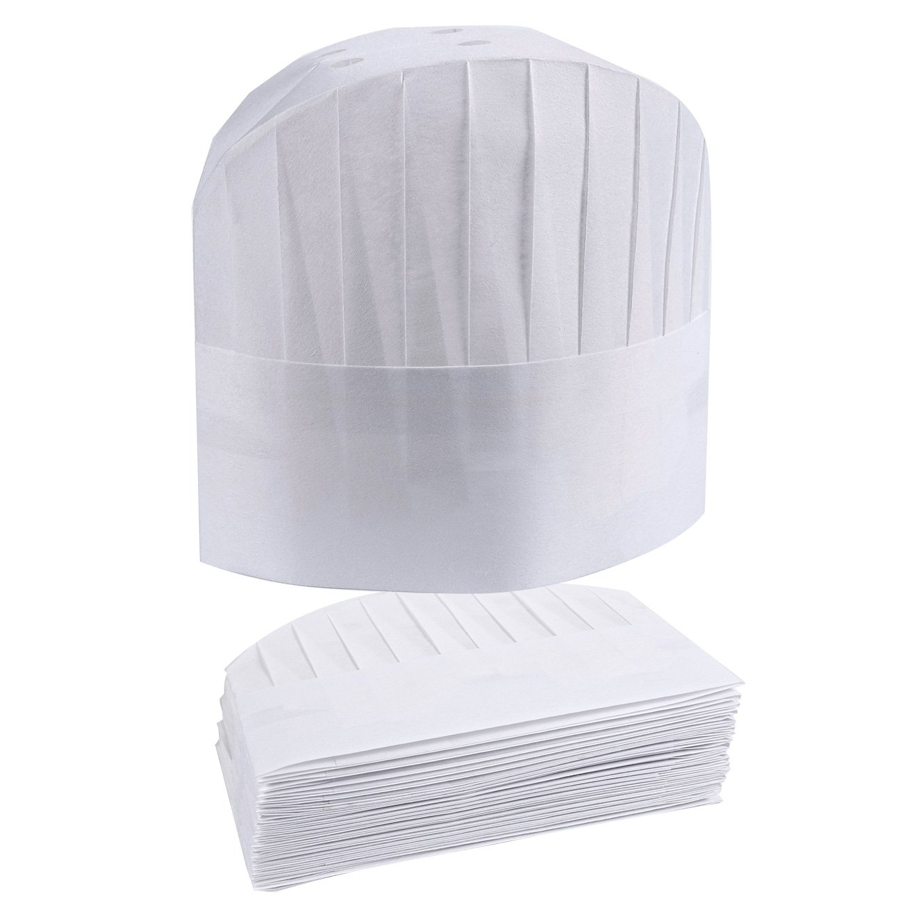 Chef Hats – 24-Pack Disposable White Paper Chef Toques, Chef Supplies, Adjustable Professional Kitchen Chef Caps for Baking, Culinary Hygiene, Cooking Safety, 23-24.4 Inches in Circumference