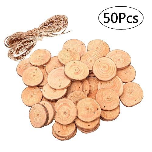 ROSENICE Madera rebanadas 4-5CM de madera troncos de troncos discos con 10 m de