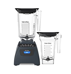 Blendtec Classic 575 Blender - WildSide+ Jar (90 oz) and FourSide Jar (75 oz) BUNDLE - Professional-Grade Power - Self-Cleaning - 4 Pre-programmed Cycles - 5-Speeds - Slate Grey