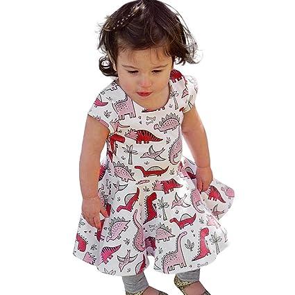 Vestidos Niñas Verano,Logobeing 0-5 Años Vestido de Sol Estampado de Dinosaurio de