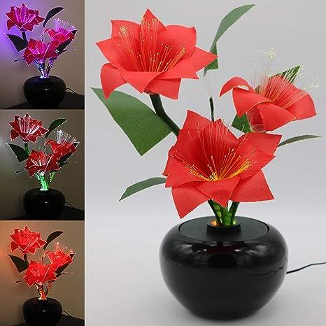 Stella Di Natale Fiore.Tronje Led Fiore Artificiale 40cm Stella Di Natale Poinsettia Rosso 3 Fiori Fibra Ottica 3w Cambia Colore Decorazione