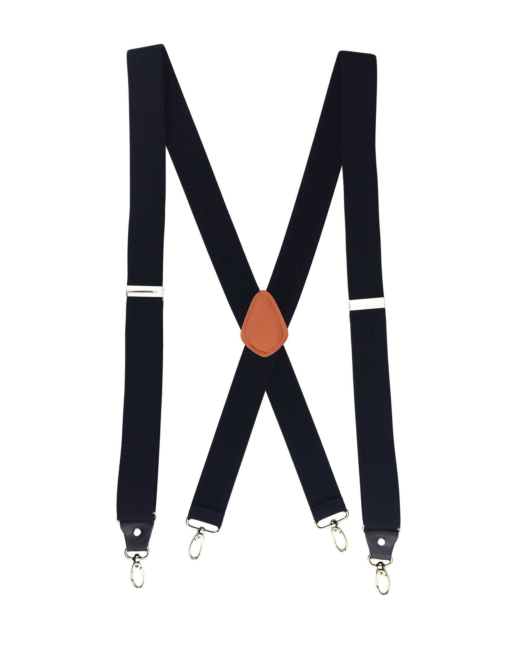 Romanlin Mens Suspenders Heavy Duty Big and Tall X Back 4 Hook Clips Black Size L