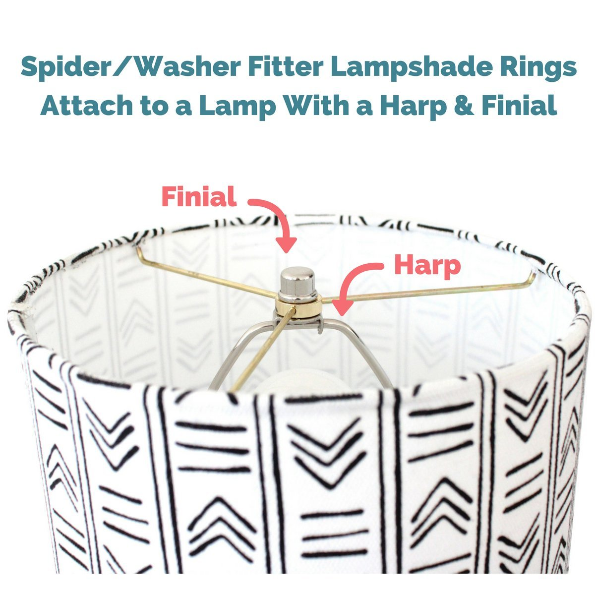 Lamp Shade Ring Set to Make a DIY Drum Ring Lamp Shade - US Style Spider Fitter That Connects to Lamp Harps - Strong Galvanized Steel Ring For Lamp Shade - 12 Inch Diameter