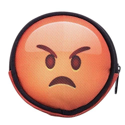 Ronda cartera cremallera funda Organizador para dinero tarjeta moneda soporte Unisex Funny Emoji Angry [041]: Amazon.es: Zapatos y complementos