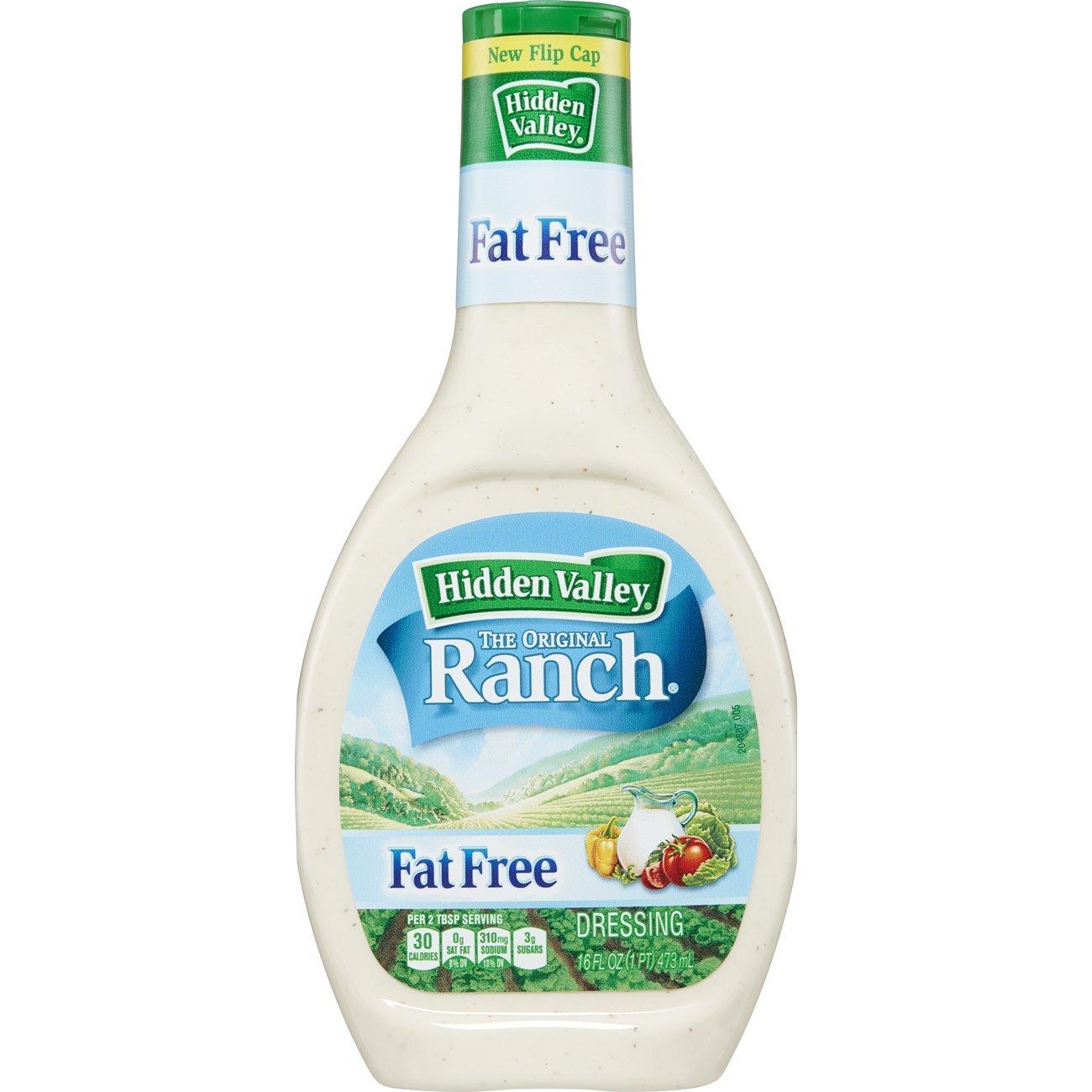 Hidden Valley Original Ranch Fat Free Salad Dressing & Topping, Gluten Free - 16 Ounce Bottle - Pack of 6
