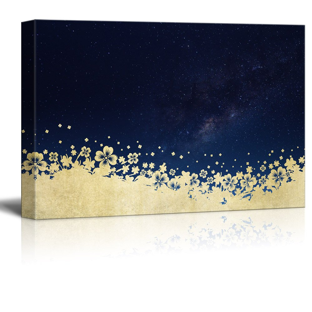 Canvas Print Wall Art - Golden Floral Patterns with The Galaxy - Gallery Wrap Modern Home Art | Ready to Hang - 32