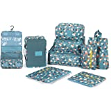 DOKEHOM 9 Packing Cubes (2 Colors) Travel Organisers - 3 Packing Cubes + 3 Pouches + 1 Bra Underwear Bag + 1 Cosmetic Bag + 1 Shoes Bag (Blue Flower)