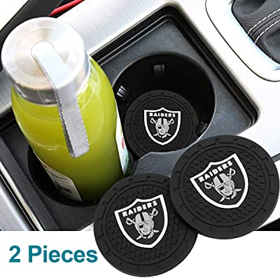 Auto Parts 2.75 Inch NFL Silicone Coasters Durable Anti Slip Silicone Cup Holder Mat,Car Cup Holder Coasters for NFL-American Football Team Car Interior Accessories Set of 2 (Oakland Raiders): Automotive