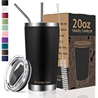 Vacuum Insulated Tumbler Double Wall Coffee Cup by Umite Chef, Stainless Steel Travel Mug with Lid, 2 Straws, Brush & Gift Box