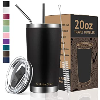 Umite Chef 20 Oz Black Reusable Coffee Cup
