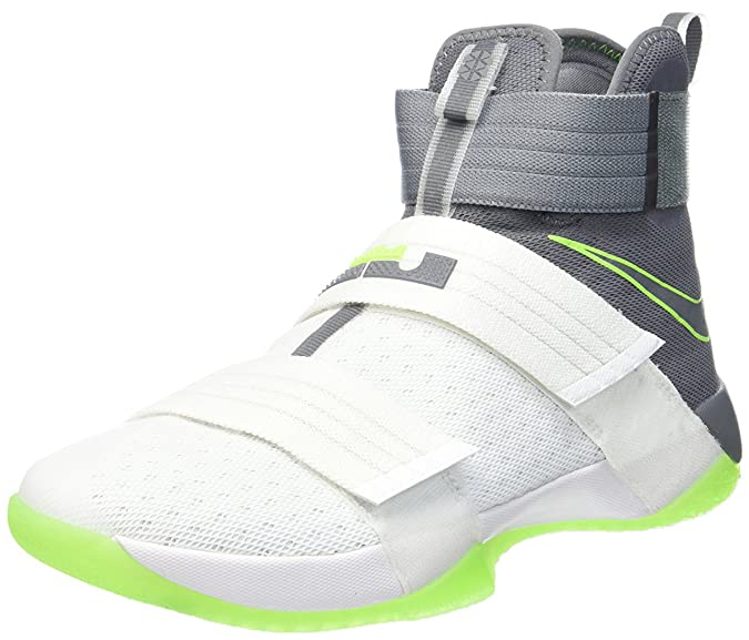 Amazon.com | NIKE Lebron Soldier X (Dunkman) White/Cool Grey-Electric Green (12) | Basketball
