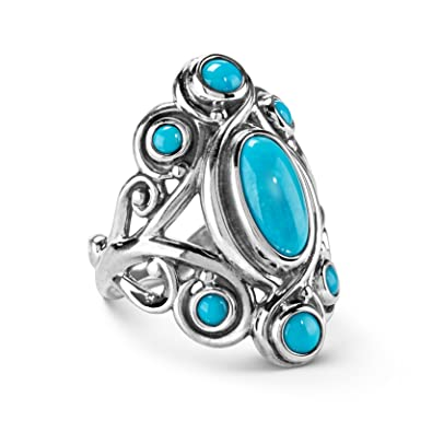 cb5fed5ceed2bf Carolyn Pollack 925 Silver Sleeping Beauty Turquoise Cluster Ring - Size 5