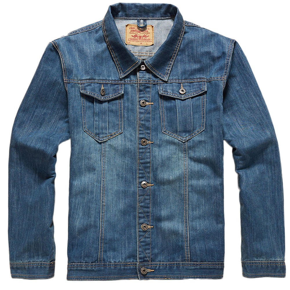 Plaid& Plain Men's Loose Fit Classic Denim Jacket The Trucker Jacket 01-YSH-M1156