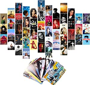 50Pcs Album Cover Posters for Room Aesthetic, Wall Collage Kit Aesthetic Pictures, Album Style Wall Art Prints for Dorm Wall Decor (50 Set 4x6 Inch)
