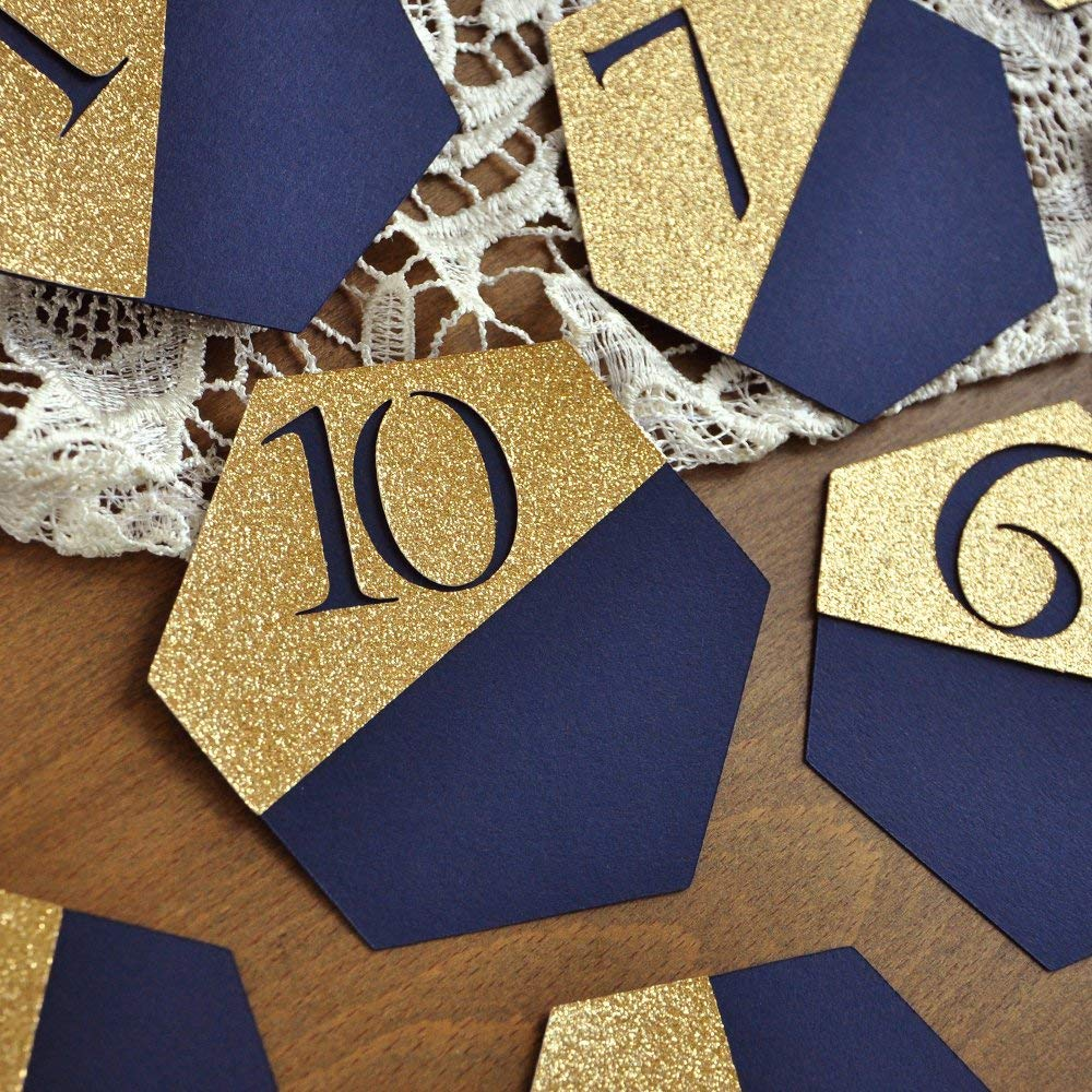 Amazoncom Navy Wedding Table Number Gold And Navy Wedding Navy