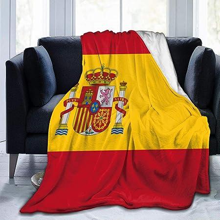 Wearibear Manta de terciopelo con la bandera de España acogedora manta de poliéster para cama, manta de forro polar lavable para el hogar, otoño, invierno, primavera, Blanco, 50