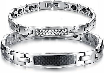 f69bc94649fa JewelryWe 2pcs Pulseras Plateadas de Parejas Enamorados Magneticas Imanes  Pulseras para Hombre Mujer Acero Inoxidable Plateado
