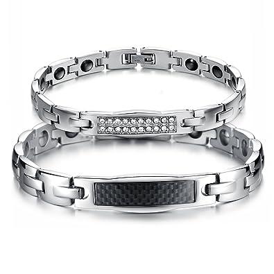 4fd7d6ce9eb9 JewelryWe 2pcs Pulseras Plateadas de Parejas Enamorados Magneticas Imanes  Pulseras para Hombre Mujer Acero Inoxidable Plateado Negro