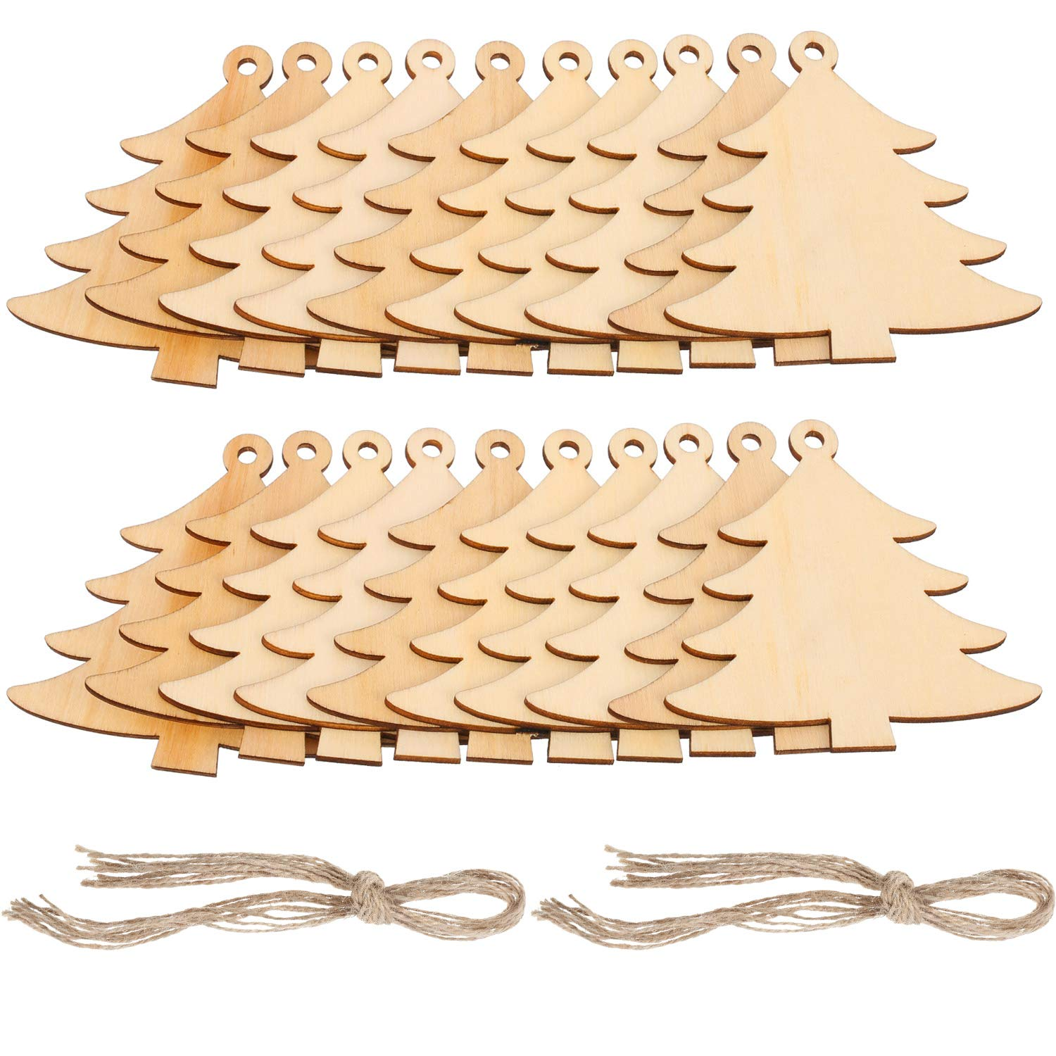 Pangda 20 Packs Wooden Christmas Tree Cutouts Embellishments Hanging Ornaments 20 Packs Strings Wedding, Craft, Christmas Decoration
