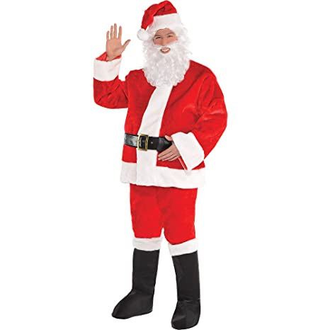 Amscan Plush Red Santa Suit for Adults, Christmas Costume, Extra Large, with Included Accessories