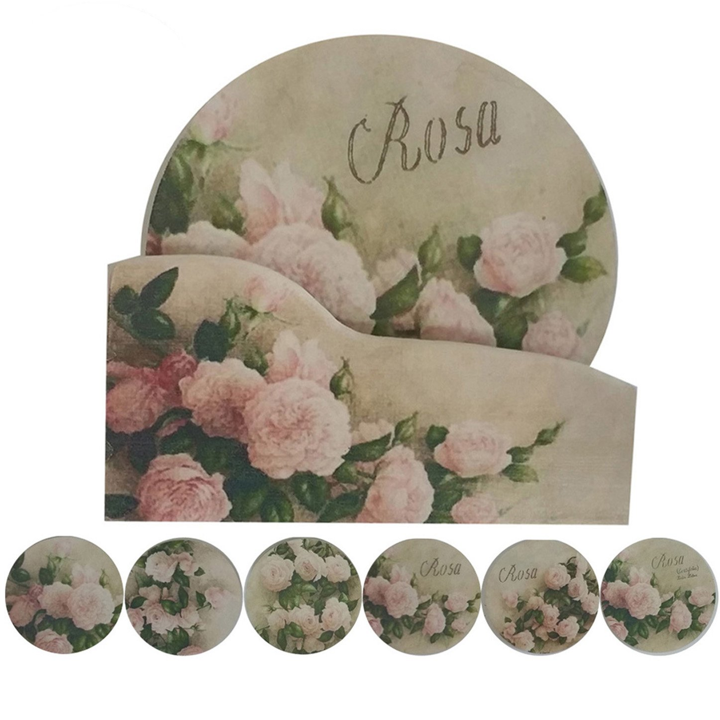 """Coralpearl Cork Absorbent Coasters with Holder Decorative Round Heat Resistant Pad Mats Spoon Rest Trivet Set Table Runner Kit Large for 6 Drinks Hot Pans,Pots,Stovetop,Countertops (4.3"""" NO.3-Roses)"""