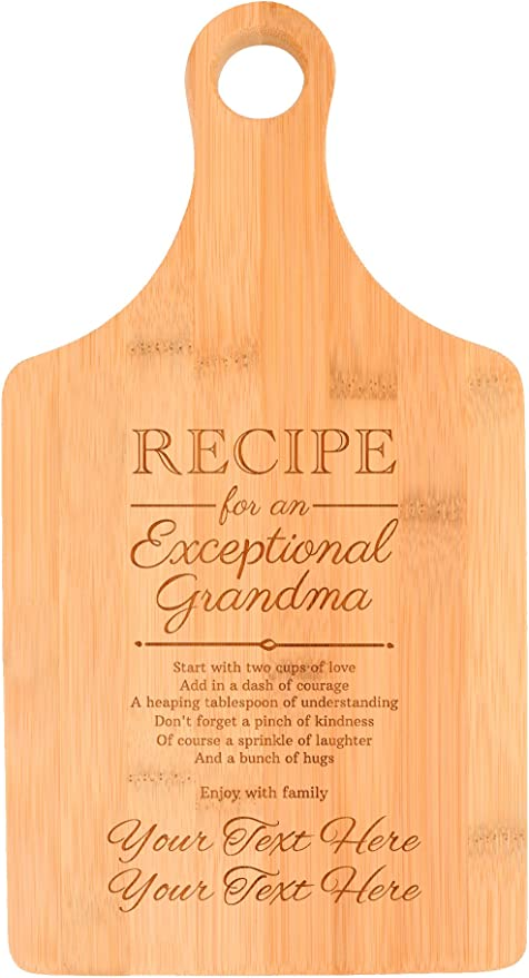 Amazon Com Customized Grandma Gifts Recipe For An Exceptional Grandma Personalized Gifts For Grandma Birthday Gifts First Time Grandma Gifts Paddle Shaped Bamboo Personalized Cutting Board Kitchen Dining