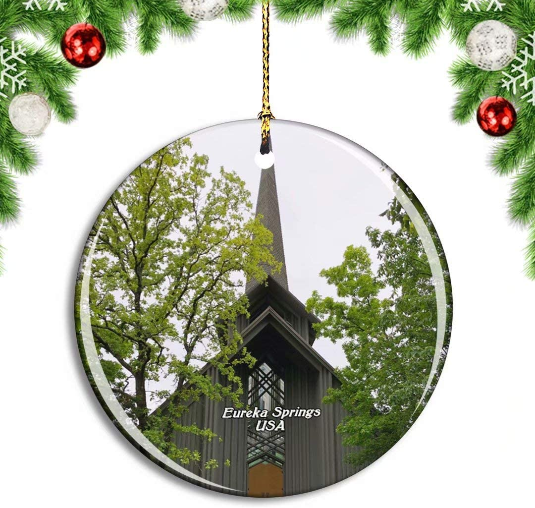Weekino USA America Eureka Springs Thorncrown Chapel Christmas Xmas Tree Ornament Decoration Hanging Pendant Decor City Travel Souvenir Collection Double Sided Porcelain 2.85 Inch