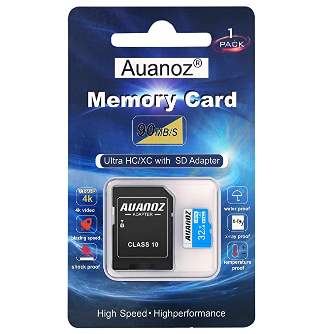 Auanoz Tarjeta De Memoria TF Ultra Class 10 UHS-I Tarjeta De Memoria De Alta Velocidad para Teléfono,Tableta y PC - con Adaptador. (Azul-32gb)