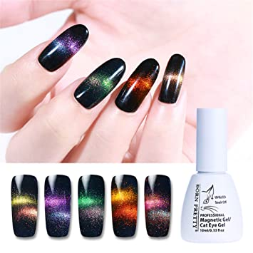 Born Pretty 3 Bottles Nail Art Cat Eye UV Gel Polish Holographic Chameleon UV Gel,1Pc Magnetic Stick with 2 Top Base Coat Set