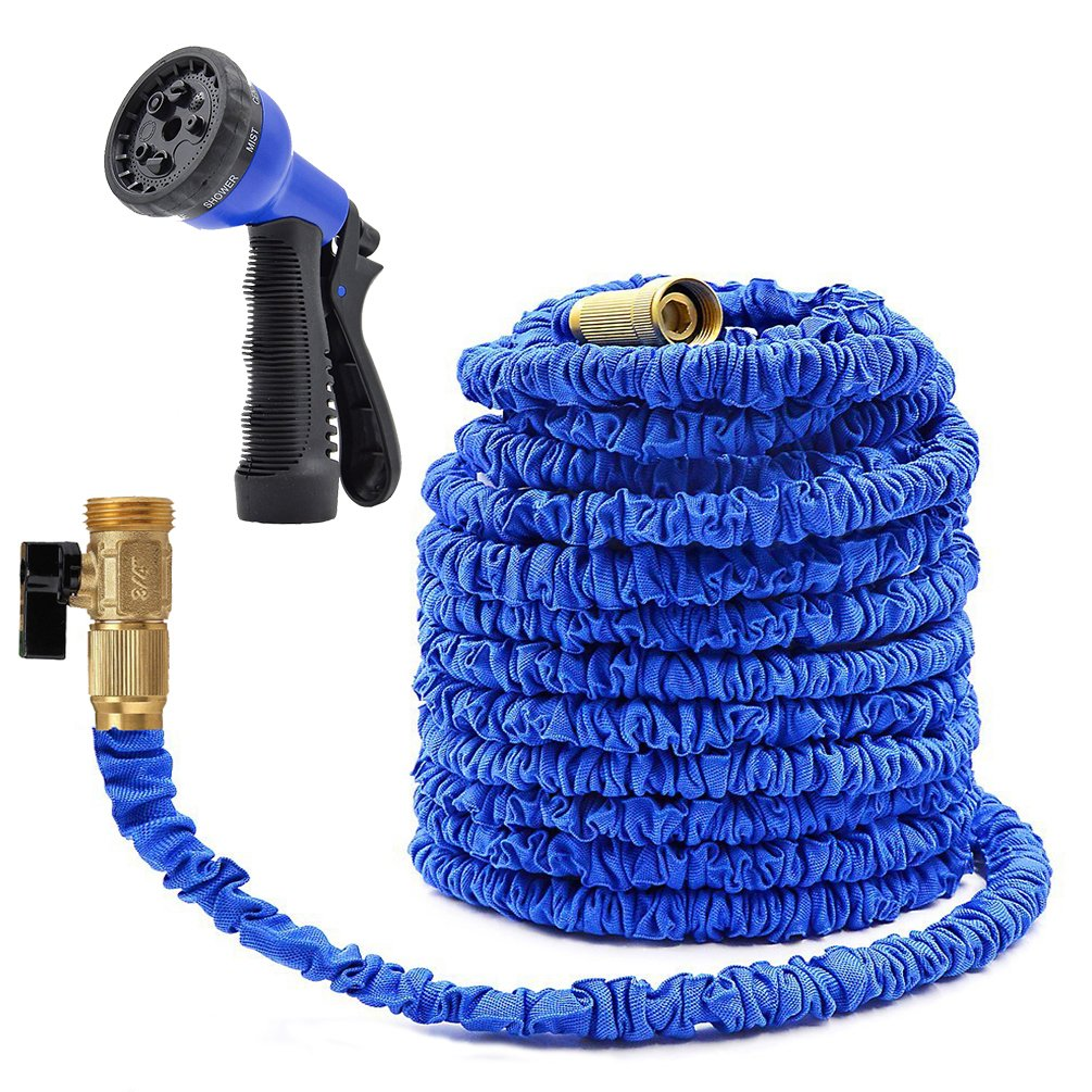 75ft Expandable Garden Hose-8 Way Sprayer Strongest Expandable Hose, Stainless Steel Holder (pat pend), Brass Fittings, Rugged Nylon Fabric, Double Latex Core (Blue) KooMover