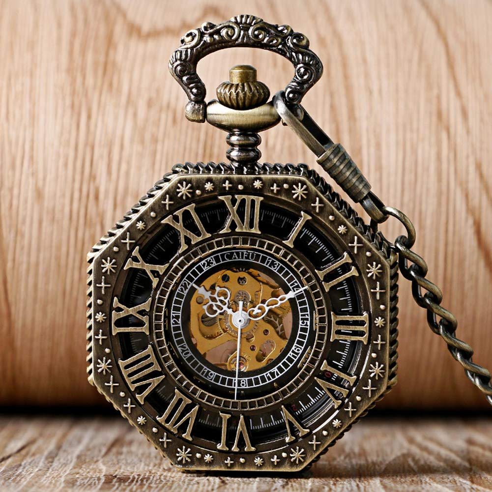 Vintage Pocket Watch, Octagon Roman Numbers Mechanical Pocket Watch for Men, Hollow Hand Wind Pocket Watch Gift by mygardens (Image #2)