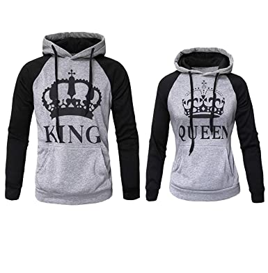 08e9d79c81 Womens Couple Sweatshirt Hoodie Casual King Queen Sweatshirts Pullover Grey  Women L/Men L