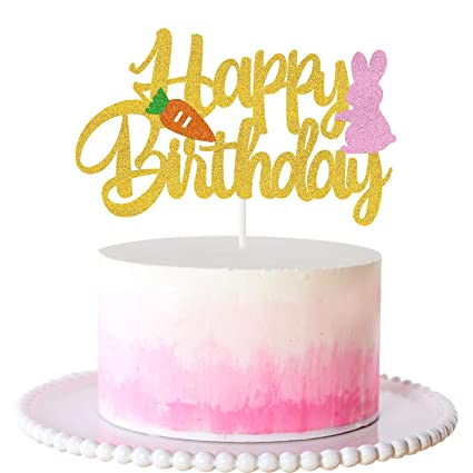 Awesome Amazon Com Pink Bunny Happy Birthday Cake Topper With Cute Bunny Personalised Birthday Cards Veneteletsinfo