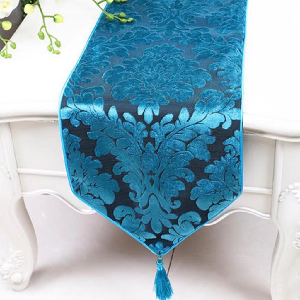 KKY-ENTER Blue Table Runner Mantel Minimalista Elegante Mesa ...