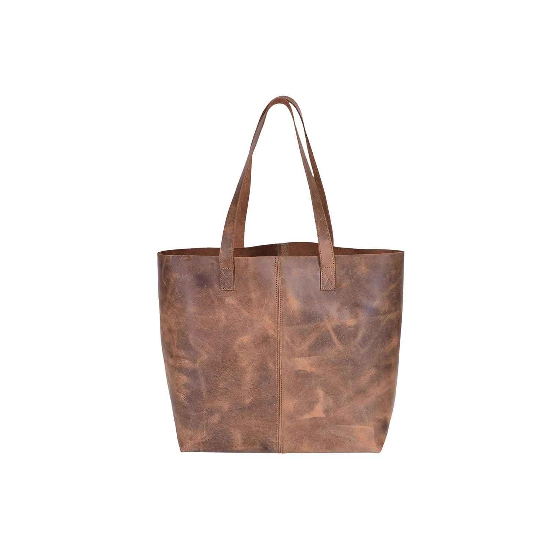 Rustic Vintage Genuine Leather Handmade Brown Shoulder Handbag Tote Bag Top Handle Bag for Women Handbags for Travel,Work,College