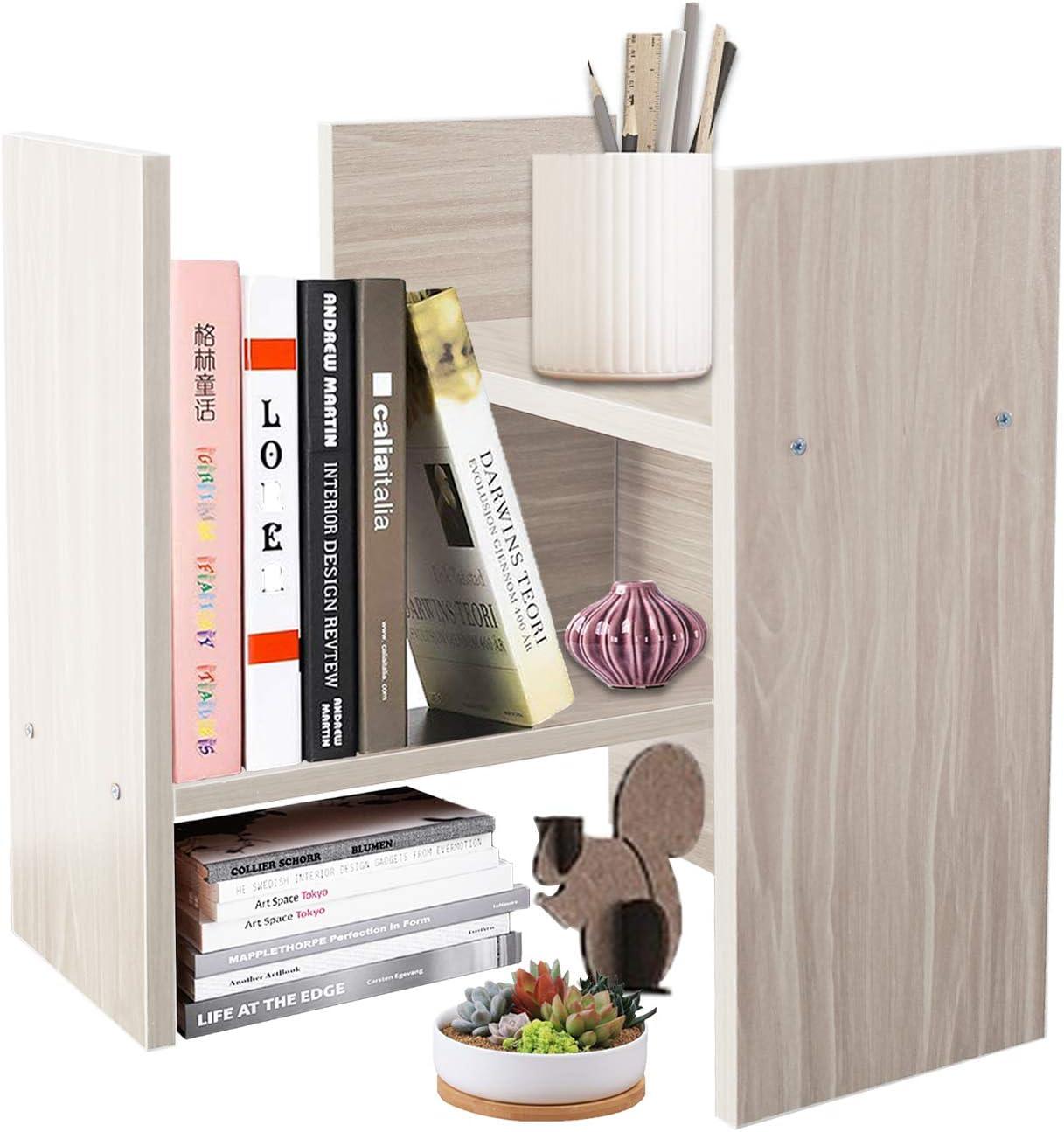DL furniture – Expandable Wood Desktop Storage Organizer Multipurpose Desk Bookshelf Display Shelf Rack Counter Top Bookcase for Office Home White