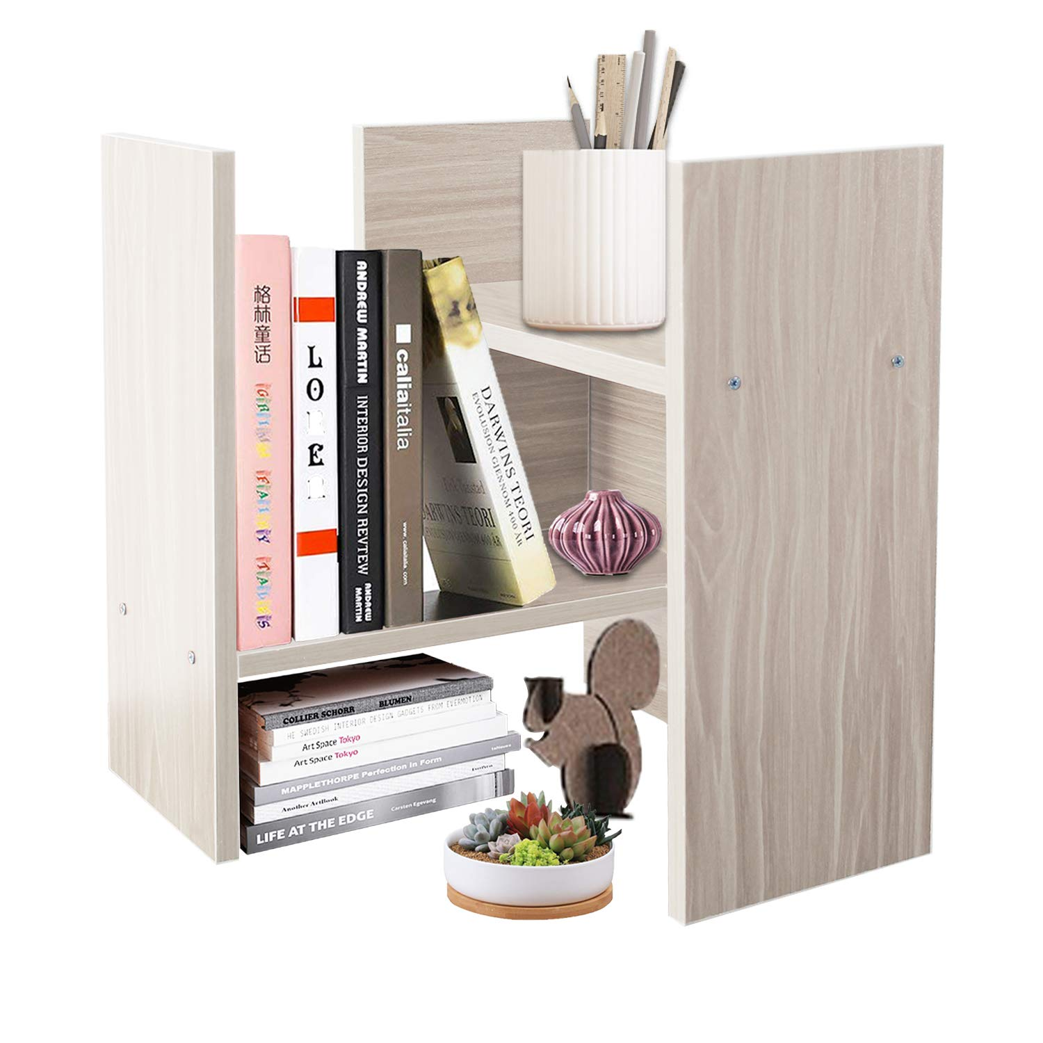 DL furniture – Expandable Wood Desktop Storage Organizer Multipurpose Desk Bookshelf Display Shelf Rack Counter Top Bookcase for Office Home White